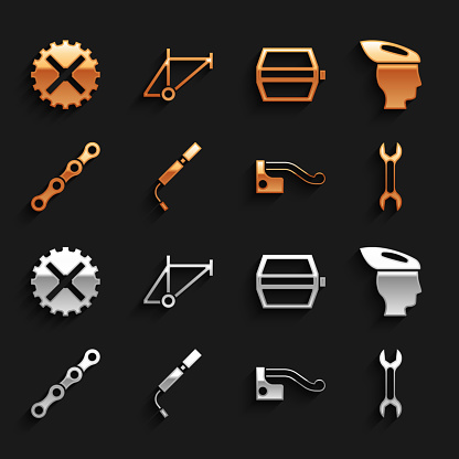 Set Bicycle air pump, helmet, Wrench spanner, brake, chain, pedal, sprocket crank and frame icon. Vector