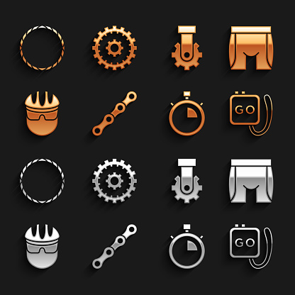 Set Bicycle chain, Cycling shorts, Stopwatch, helmet, Derailleur bicycle rear, wheel and cassette icon. Vector
