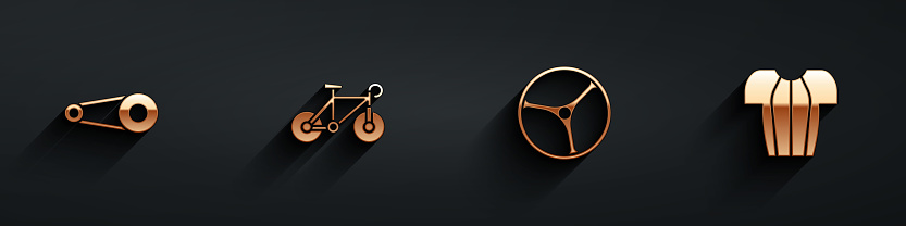 Set Bicycle chain with gear, , wheel and Cycling t-shirt icon with long shadow. Vector