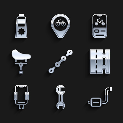 Set Bicycle chain, Wrench spanner, pedal, lane, Mobile holder, seat, rental mobile app and Sunscreen cream tube icon. Vector