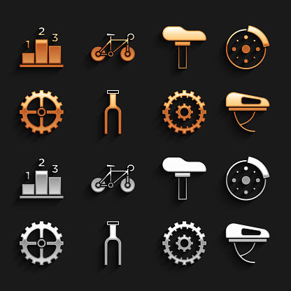 Set Bicycle fork, brake disc, helmet, cassette, sprocket crank, seat, Award over sports winner podium and icon. Vector