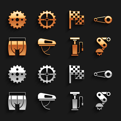 Set Bicycle helmet, chain with gear, Derailleur bicycle rear, air pump, Cycling shorts, Checkered flag, sprocket crank and icon. Vector