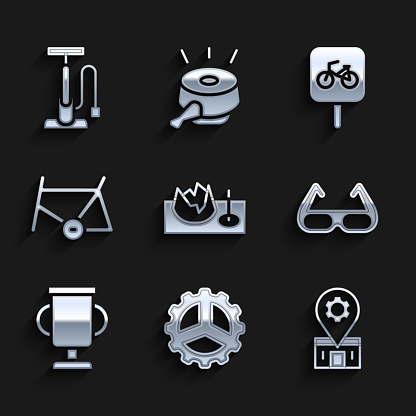 Set Bicycle on street ramp, sprocket crank, repair service, Sport cycling sunglasses, Award cup with bicycle, frame, parking and pump icon. Vector