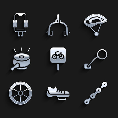 Set Bicycle parking, shoes, chain, rear view mirror, wheel, bell, helmet and Mobile holder icon. Vector