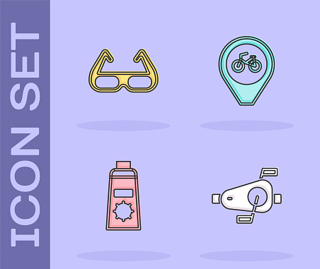 Set Bicycle pedals, Sport cycling sunglasses, Sunscreen cream tube and Location with bicycle icon. Vector