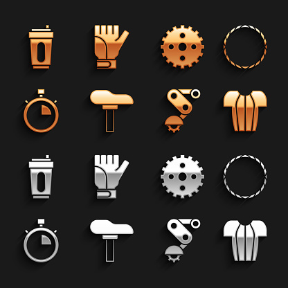 Set Bicycle seat, wheel, Cycling t-shirt, Derailleur bicycle rear, Stopwatch, sprocket crank, Sport bottle with water and Gloves icon. Vector