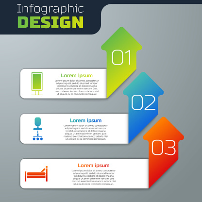 Set Big full length mirror, Office chair and Bed. Business infographic template. Vector