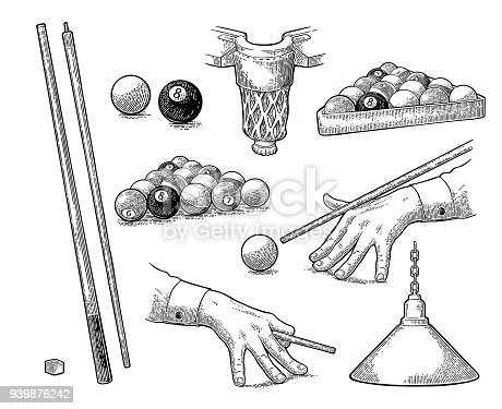 Set billiard. Cue sticks, balls, chalk block, pocket and lamp.Vintage black engraving illustration for poster, web. Isolated on white background.
