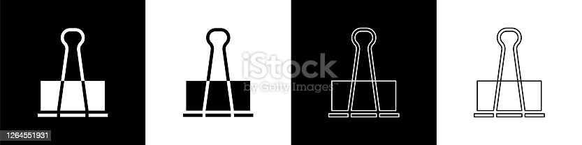 istock Set Binder clip icon isolated on black and white background. Paper clip. Vector Illustration 1264551931