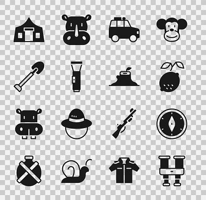 Set Binoculars, Compass, Lemon, Car, Flashlight, Shovel, Tourist tent and Tree stump icon. Vector