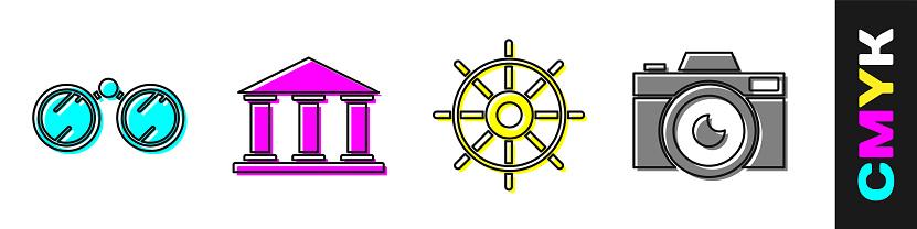 Set Binoculars, Museum building, Ship steering wheel and Photo camera icon. Vector