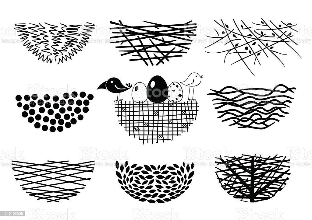 Set bird nests icons vector art illustration