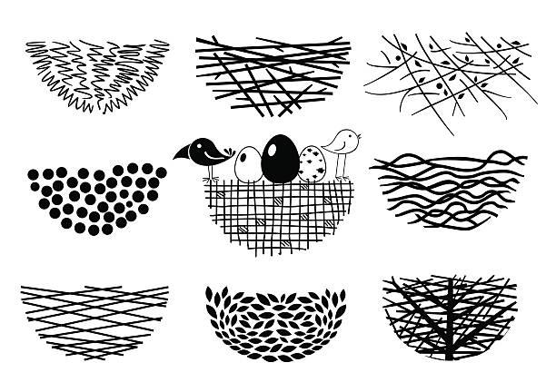 bildbanksillustrationer, clip art samt tecknat material och ikoner med set bird nests icons - bo