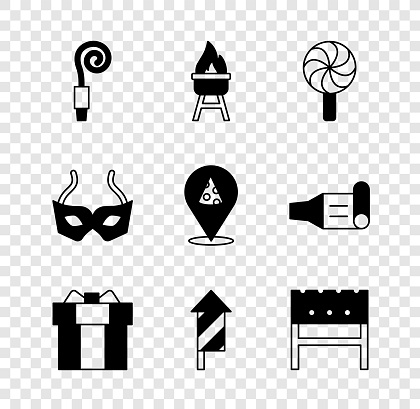 Set Birthday party horn, Barbecue grill, Lollipop, Gift box, Firework rocket, BBQ brazier, Festive mask and Slice of pizza icon. Vector