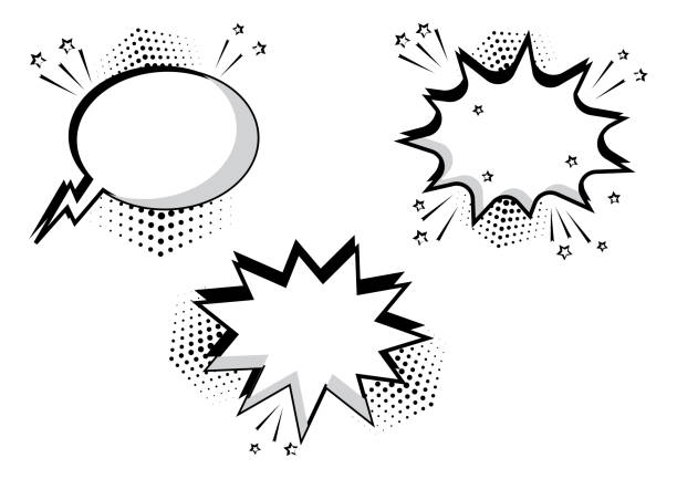 set black and white comic bubbles for your text. comic sound effects in pop art style. sound bubble speech with word and comic cartoon expression sounds illustration. vector illustration. - sound effects stock illustrations, clip art, cartoons, & icons