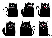 Set black cat. Funny Kawaii animal. Pets collection. Isolated on White background. Cute cartoon character. Vector cartoon Illustration in flat.