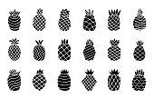 Set black icons of pineapple fruit with leaf isolated on white background. Tropical fruit bundle. Simple minimal flat style. Logo design, stamp. Symbol exotic summer. Vector illustration