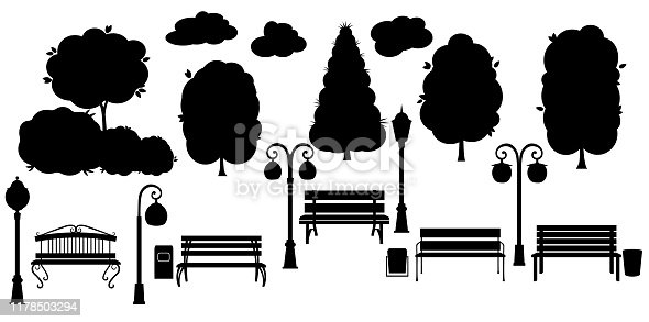 Set black object for city park. Silhouette Tree, trash can, lantern, teeter, and benches. Isolated on white background Vector illustration.