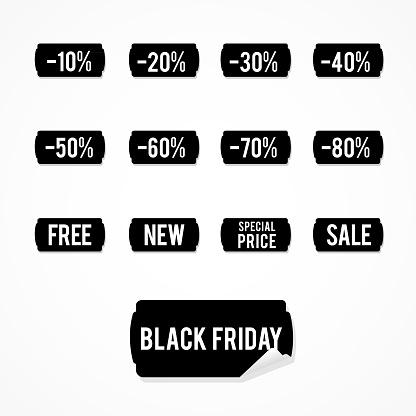 Set: black sale labels. Black Friday