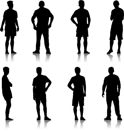Set Black silhouette man standing, people on white background clipart