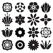 Set black silhouettes flowers isolated on a white background