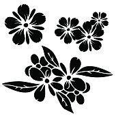 Set black silhouettes flowers