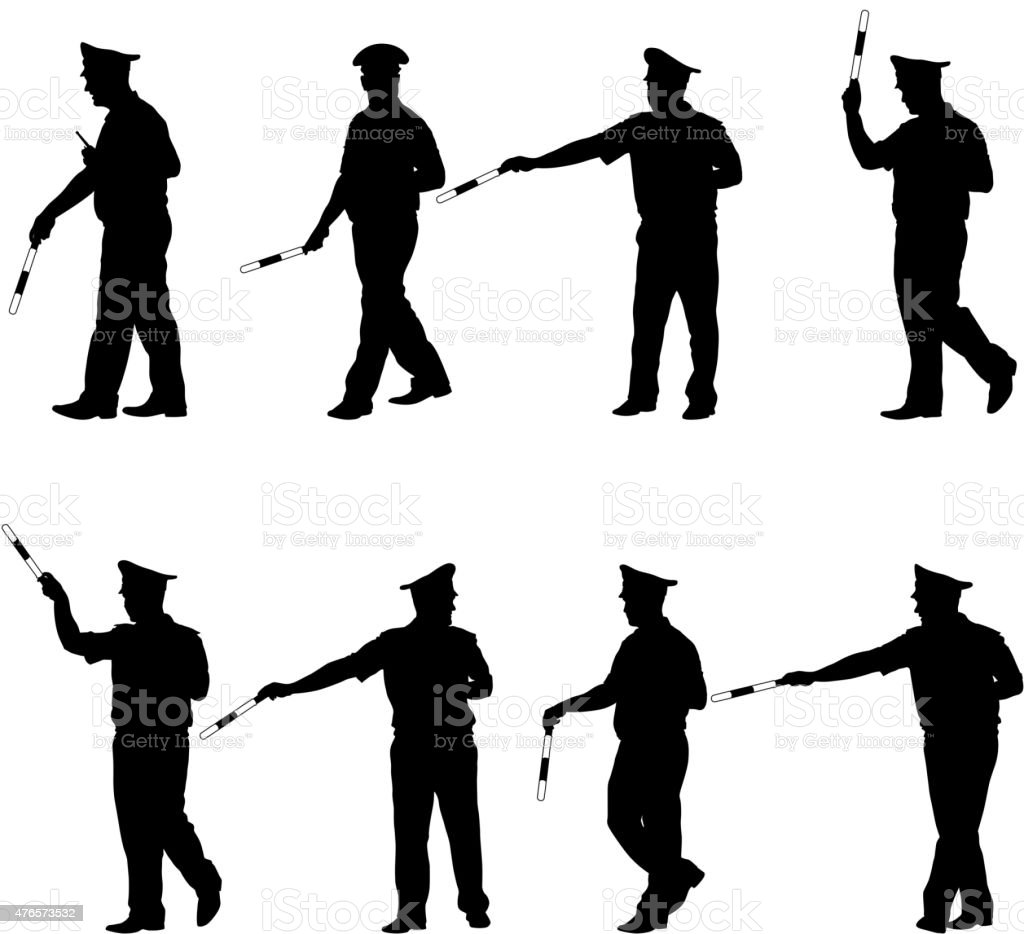 Set black silhouettes  Police officer  with a rod vector art illustration