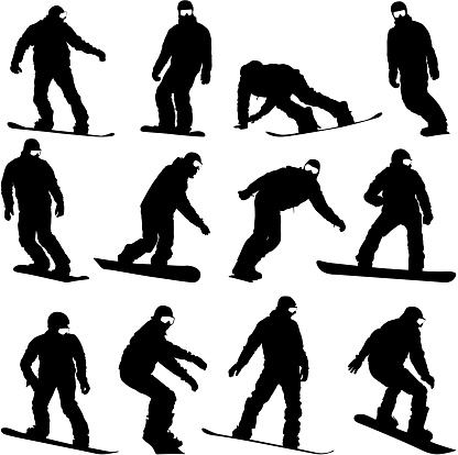 Set black silhouettes  snowboarders on white background. Vector