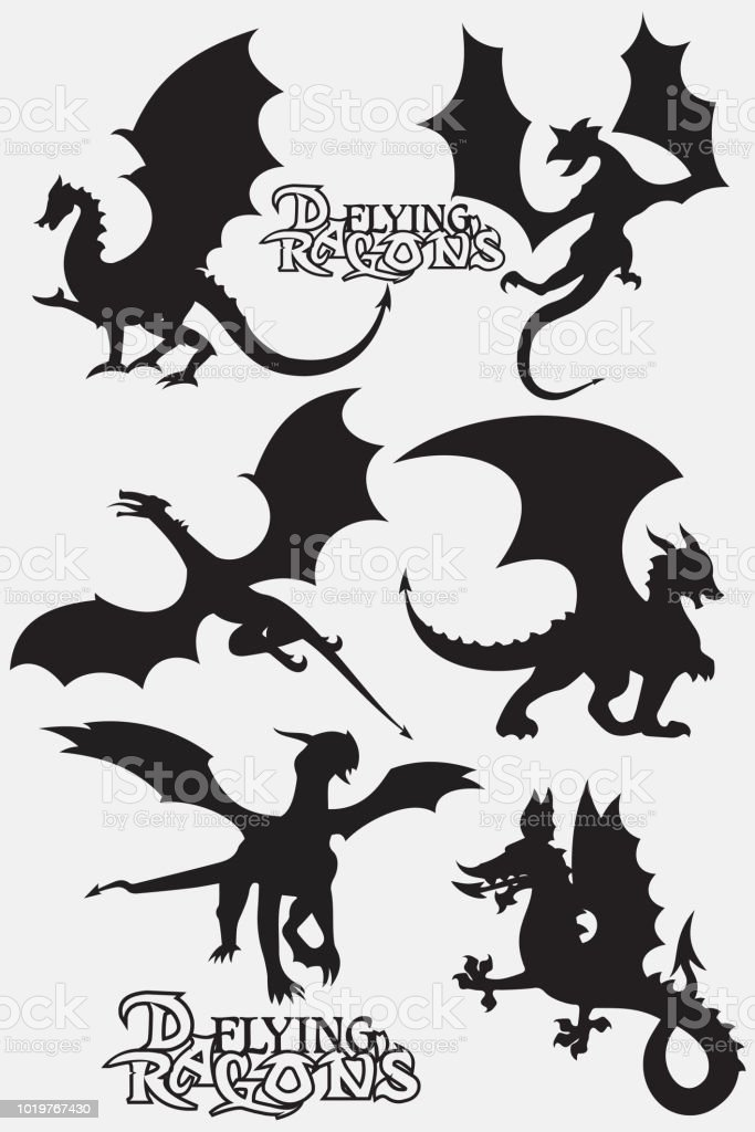 set black stylized vector illustrations of dragons flying