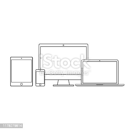 Set black technology on a white background.