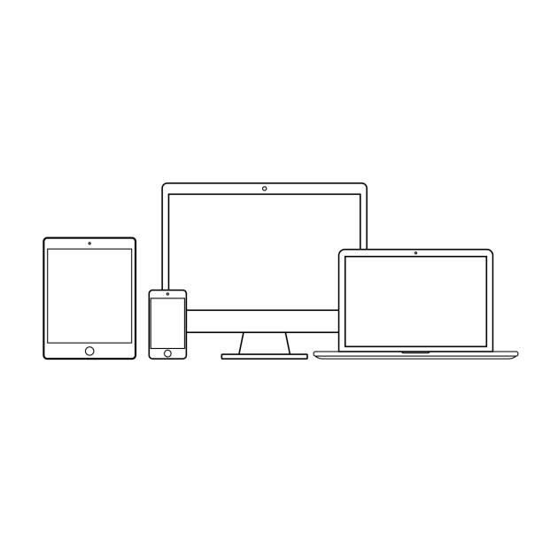 illustrazioni stock, clip art, cartoni animati e icone di tendenza di imposta la tecnologia nera su uno sfondo bianco. - laptop