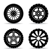 Set black tire - stock vector