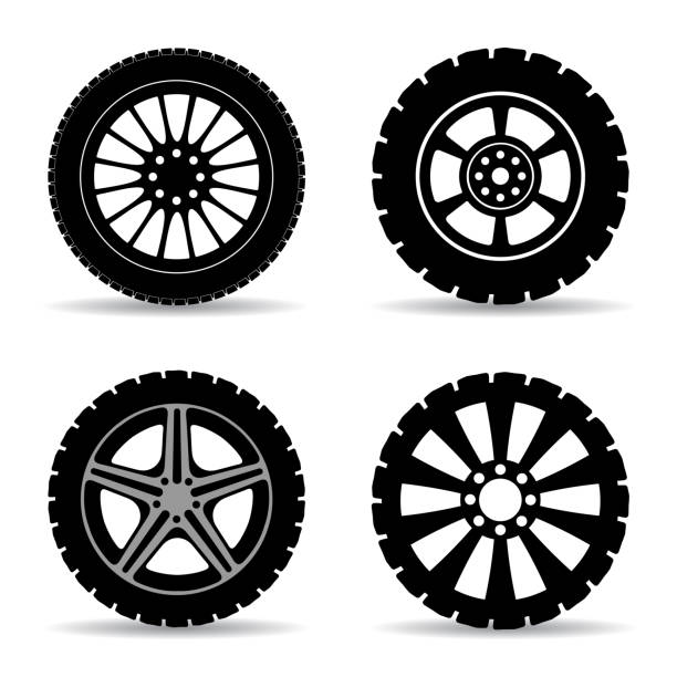 Set black tire - stock vector Set black tire - stock vector tire vehicle part stock illustrations