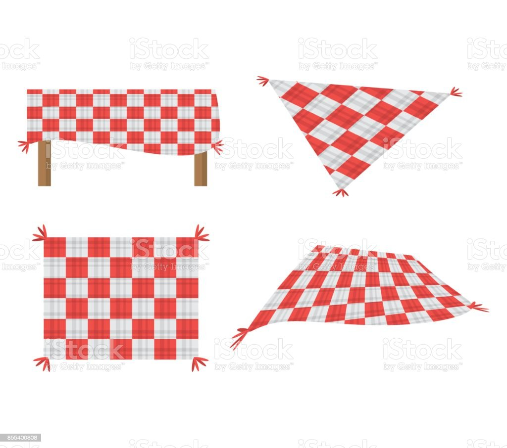 set blanket picnic tablecloth image vector art illustration