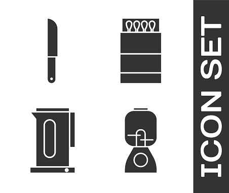 Set Blender, Knife, Kettle with handle and Open matchbox and matches icon. Vector