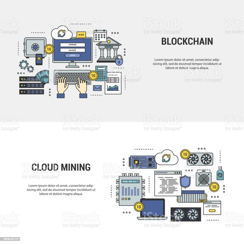 Set blockchain and mining banners vector art illustration