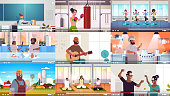 set bloggers recording online video vloggers doing live streaming broadcast social media networking blogging concept full length horizontal vector illustration