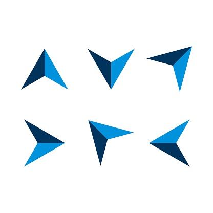 set Blue Arrow Navigation Logo Template Illustration Design. Vector EPS 10.