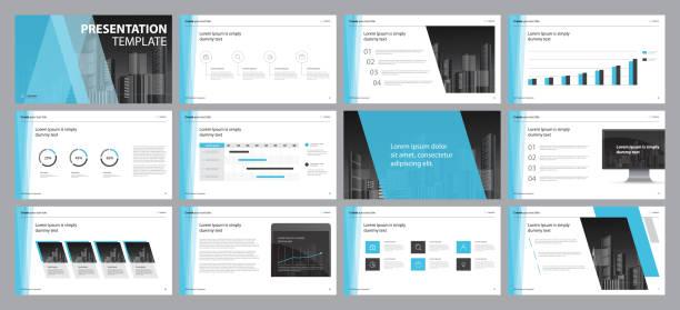Setzen Sie blaue Business-Präsentation Hintergründe Design-Vorlage und Seitenlayout-Design für Broschüre, Buch, Magazin, Geschäftsbericht und Firmenprofil, mit infographischen Elementen Graphen-Design-Konzept – Vektorgrafik