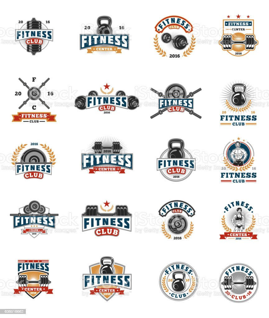 Set bodybuilding badges, stickers isolated on white. - ilustración de arte vectorial