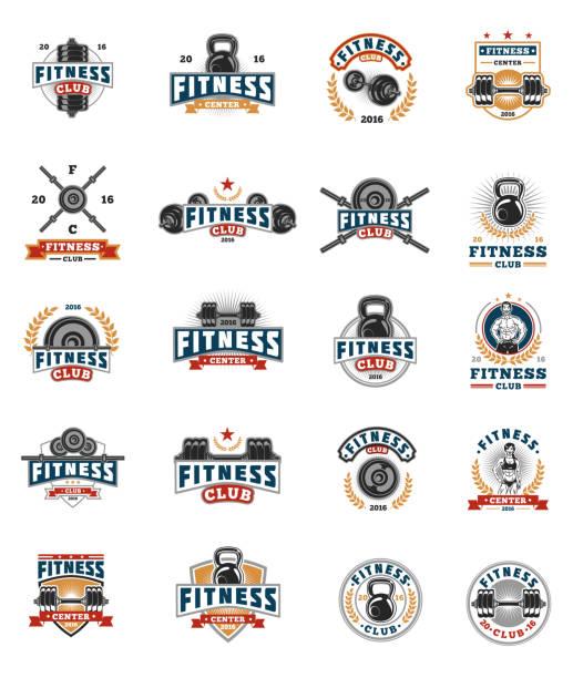 Set bodybuilding badges, stickers isolated on white. - ilustración de arte vectorial