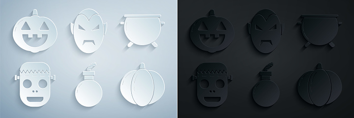 Set Bomb ready to explode, Halloween witch cauldron, Zombie mask, Pumpkin, Vampire and icon. Vector
