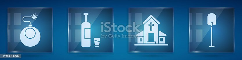 Set Bomb ready to explode, Whiskey bottle and glass, Church building and Shovel. Square glass panels. Vector