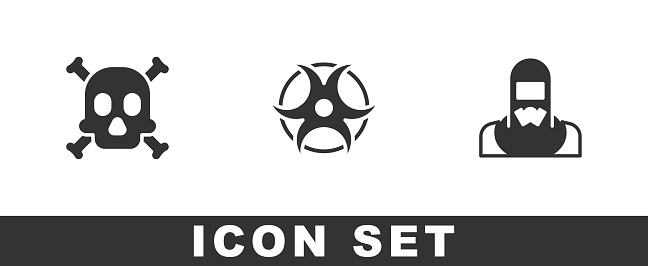 Set Bones and skull warning, Biohazard symbol and Nuclear reactor worker icon. Vector
