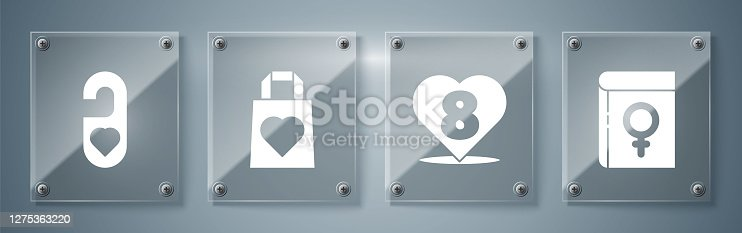 istock Set Book about women, Heart with 8 March, Shopping bag with heart and Please do not disturb with heart. Square glass panels. Vector 1275363220
