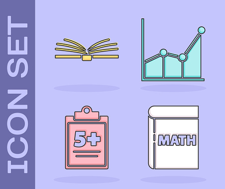 Set Book with word mathematics, Open book, Test or exam sheet and Graph, schedule, chart, diagram icon. Vector