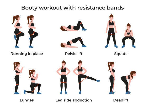 Set Booty workout with resistance bands vector art illustration