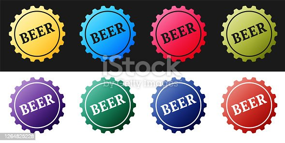Set Bottle cap with beer word icon isolated on black and white background. Vector.