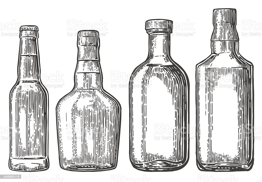 Set bottle for beer, whiskey, tequila vector art illustration
