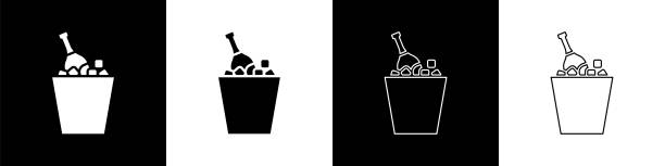 Set Bottle of champagne in an ice bucket icon isolated on black and white background. Vector Illustration Set Bottle of champagne in an ice bucket icon isolated on black and white background. Vector Illustration alcohol drink clipart stock illustrations